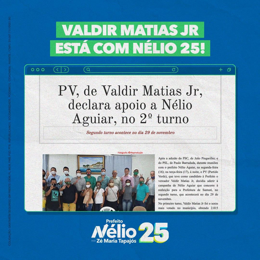 Valdir Matias Jr também é Nélio 25 no segundo turno!