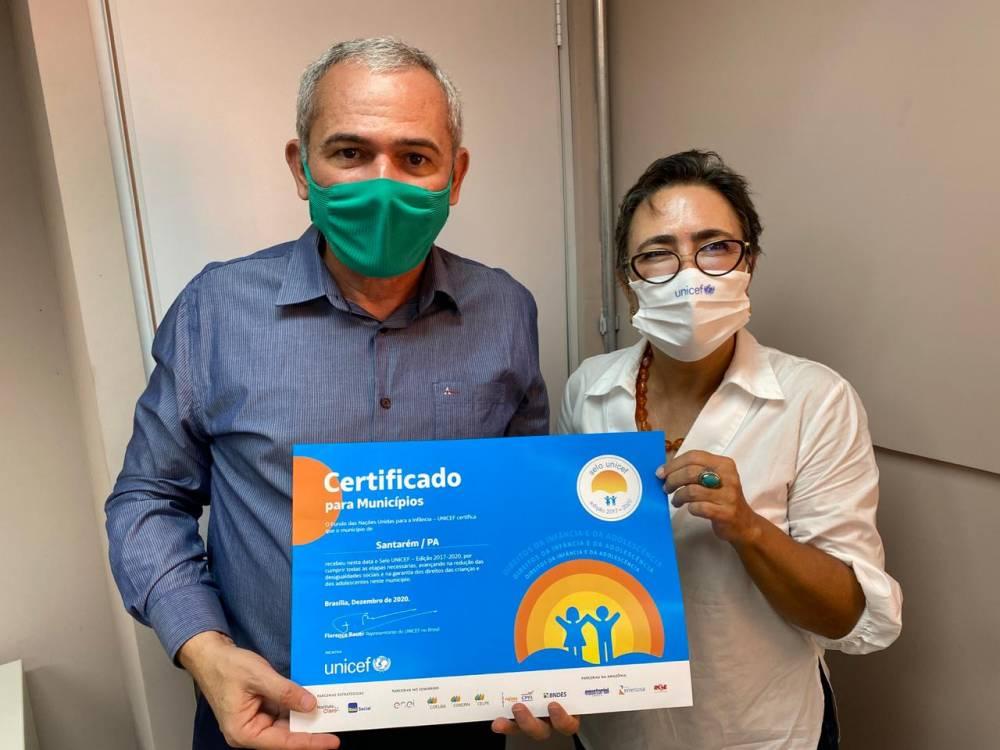Prefeito Nélio recebe certificação do Selo Unicef na sede da ONU em Belém